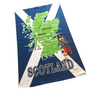 Scotland Map with Saltire Cotton Tea Towel [67492]