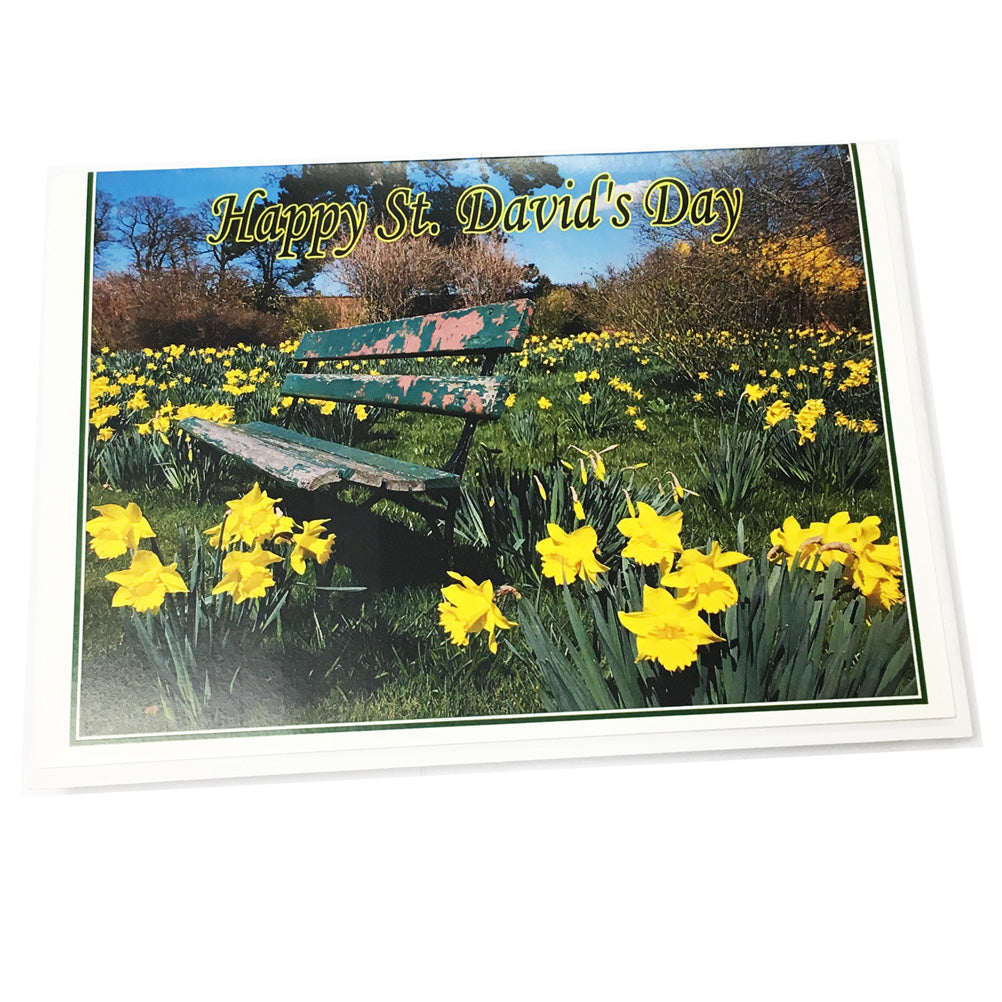 St David's Day Park Bench Greetings Card [SSsd4]