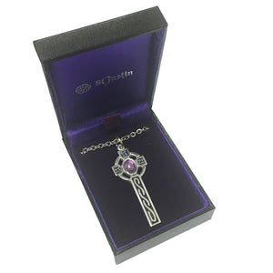 St Justin Pewter Gemstone Celtic Cross Pendant & Chain [xp52]-Amethyst