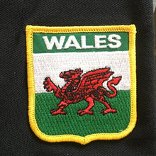 Wales Flag Embroidered Patch Motif Black Polo Shirt [tpn]