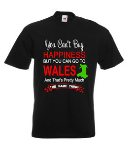 Happiness Go To Wales Unisex T-Shirt - black