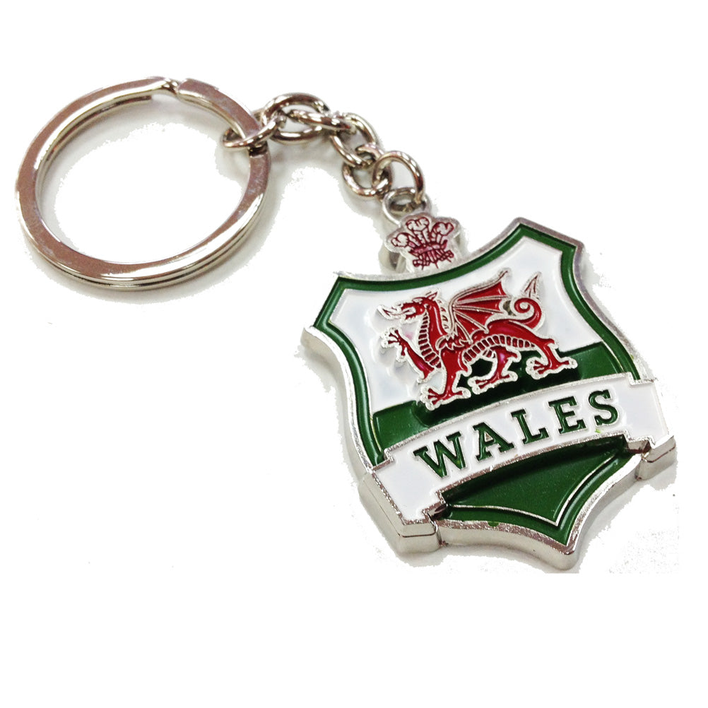 Welsh Flag Shield Metal Keyring [otk]