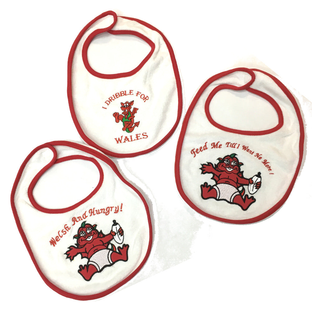 Wales Welsh Dragon Embroidered Baby Bib - 3Pk