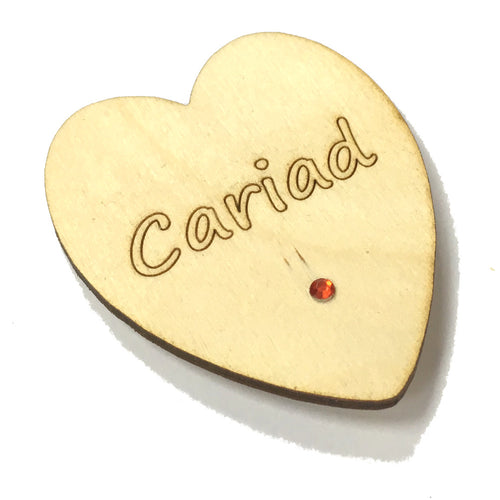 Wales Cariad Laser Etched Heart-Shaped Fridge Magnet