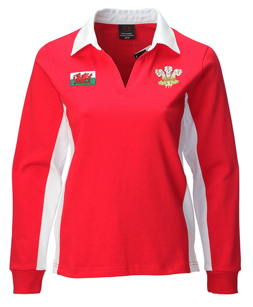 Wales Contrast Long Sleeve Ladies Rugby Shirt [red]
