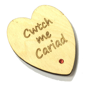 Wales Cwtch Me Cariad Laser Etched Heart-Shaped Fridge Magnet