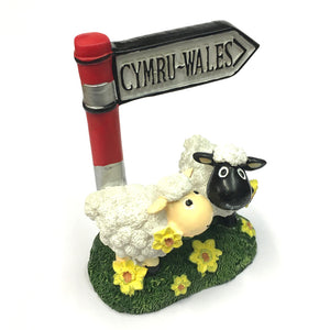 Wales Twin Sheep & Signpost Figure [wg575]