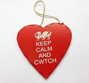 Wales Decorative Heart Sign KEEP CALM AND CWTCH [wg545]