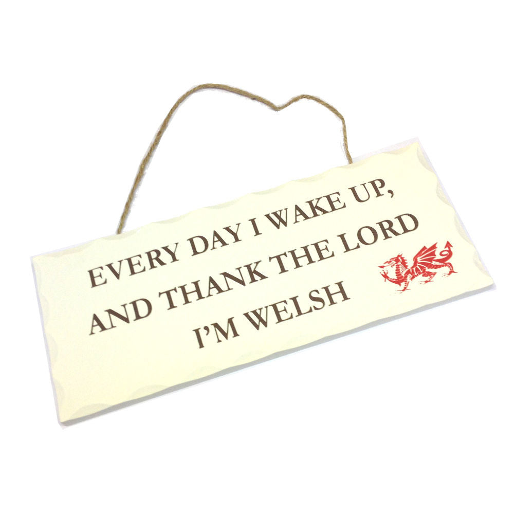 Wales Decorative Sign THANK THE LORD IM WELSH [wg540]