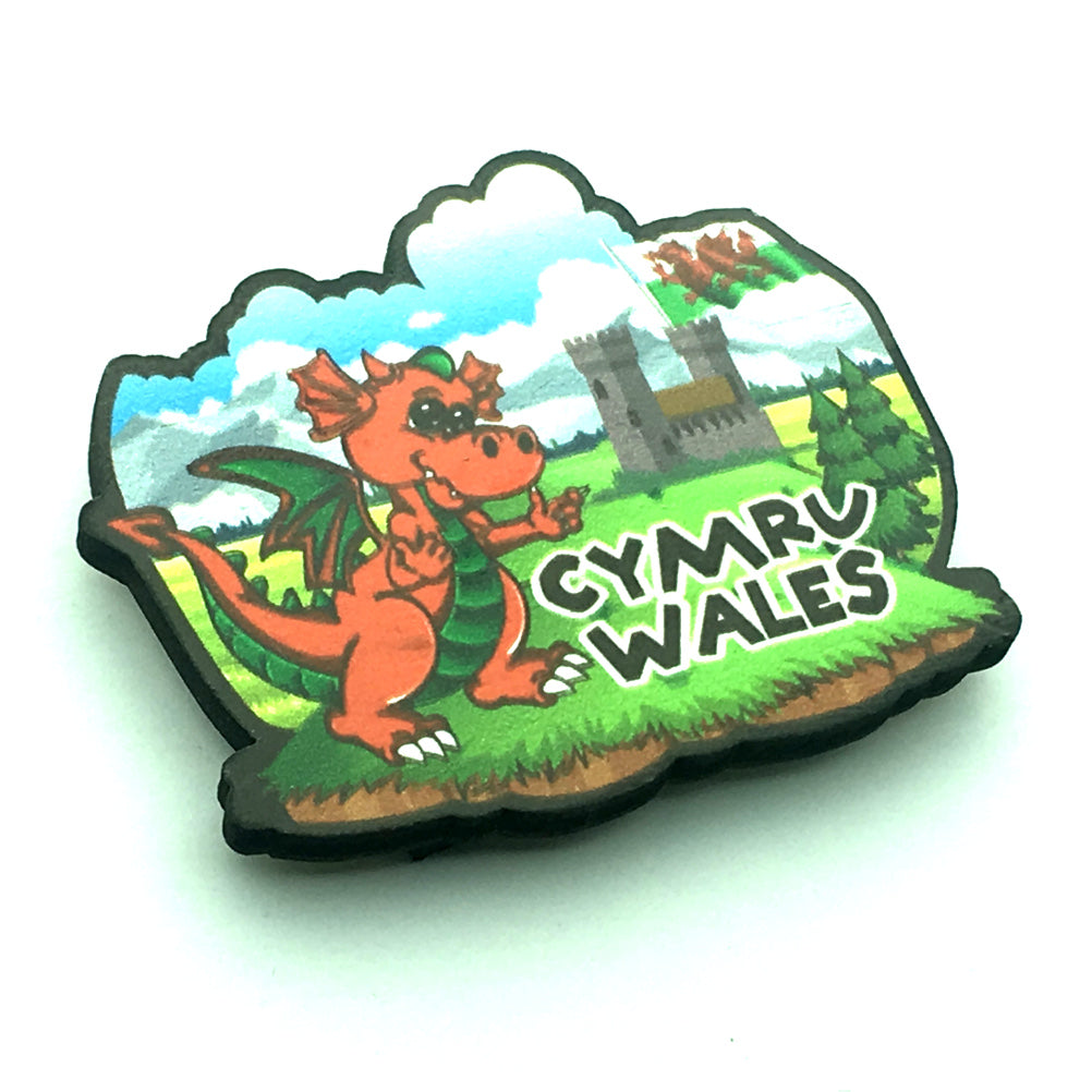 Wales Dragon & Castle Wooden Fridge Magnet [wm730]