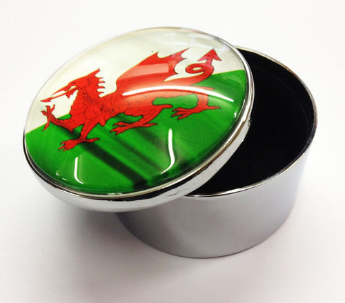 Wales Flag Round Glass Topped Metal Trinket Box [wg533]