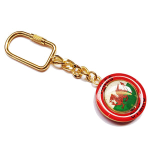 Welsh Flag Red Circular Spinner Keyring [wk30]