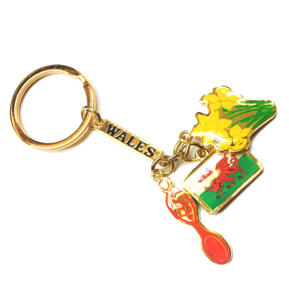 Wales Flag, Welsh Daffodil & Lovespoon Metal Charm Keyring [wk56]