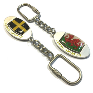 Oval Welsh Flags Spinner Metal Keyring [wk142]