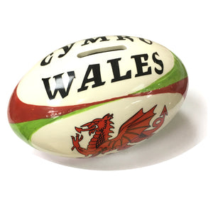 Wales Horizontal Rugby Ball Money Box [gw5007]