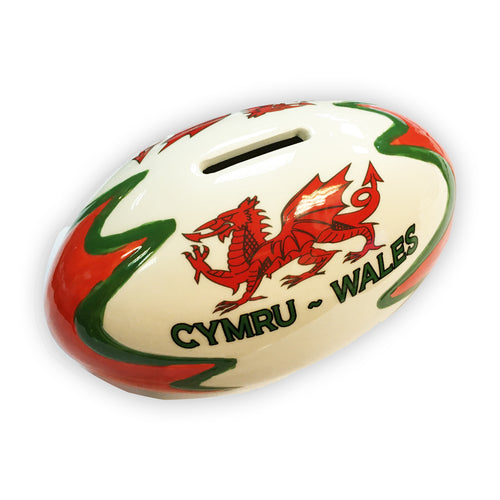 Wales Horizontal Rugby Ball Money Box [wg564]