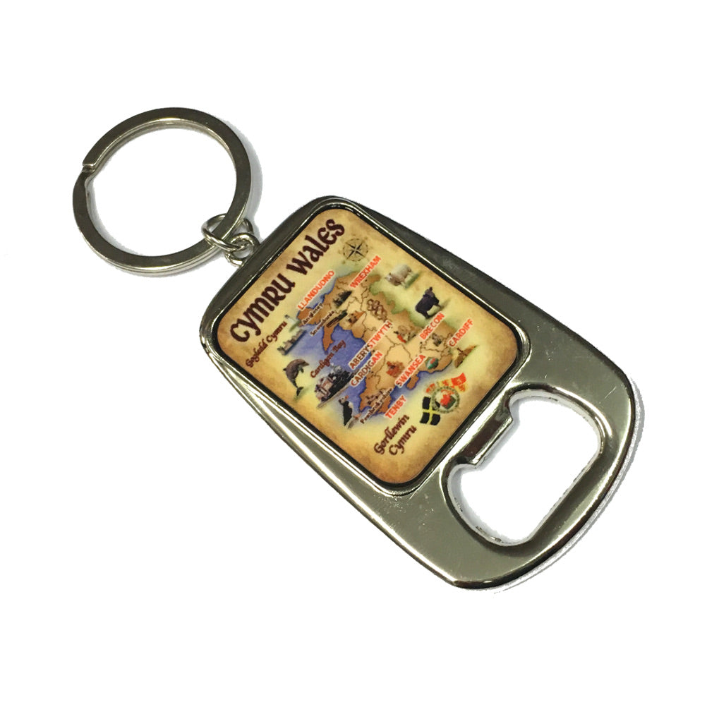 Wales Map Metal Bottle Opener Keyring [wk312]