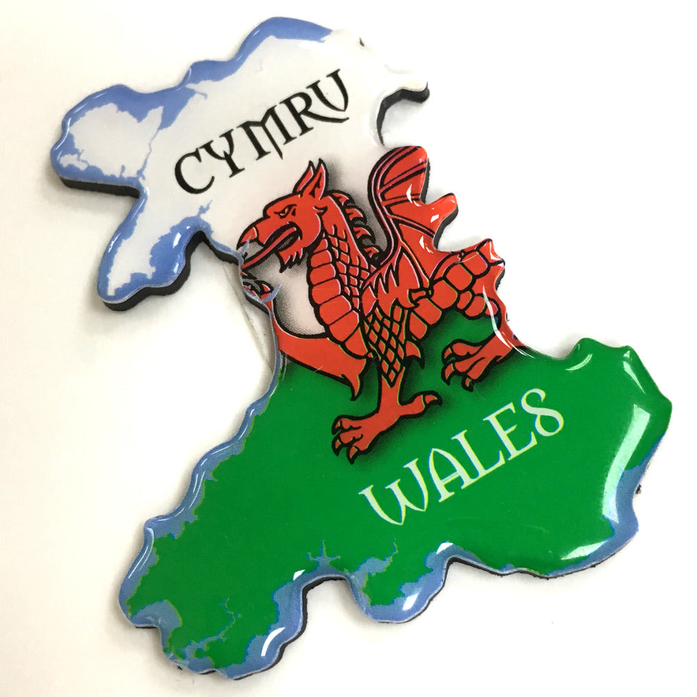 Wales Map Polydome Fridge Magnet
