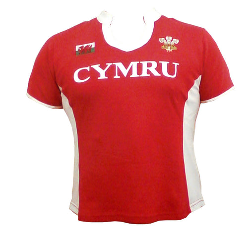 Wales PANEL Short Sleeve Ladies Rugby Shirt