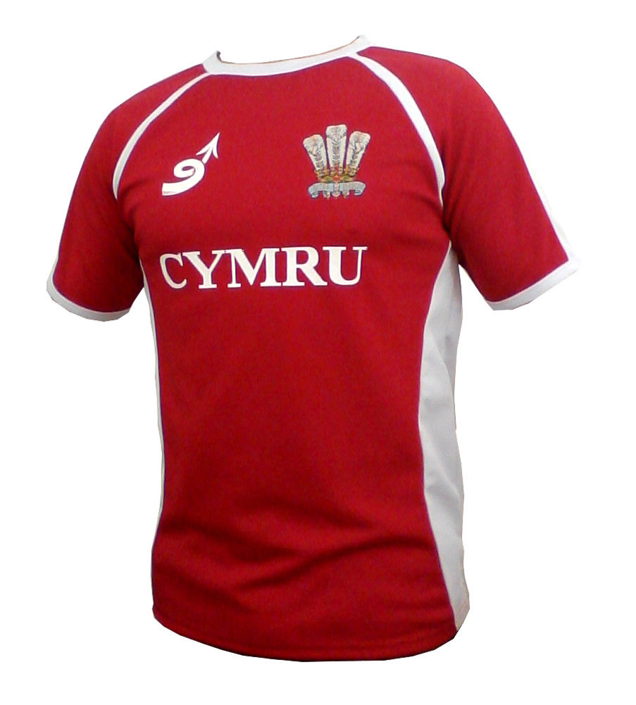 Junior 'Poly Contrast' Wales Rugby Shirt