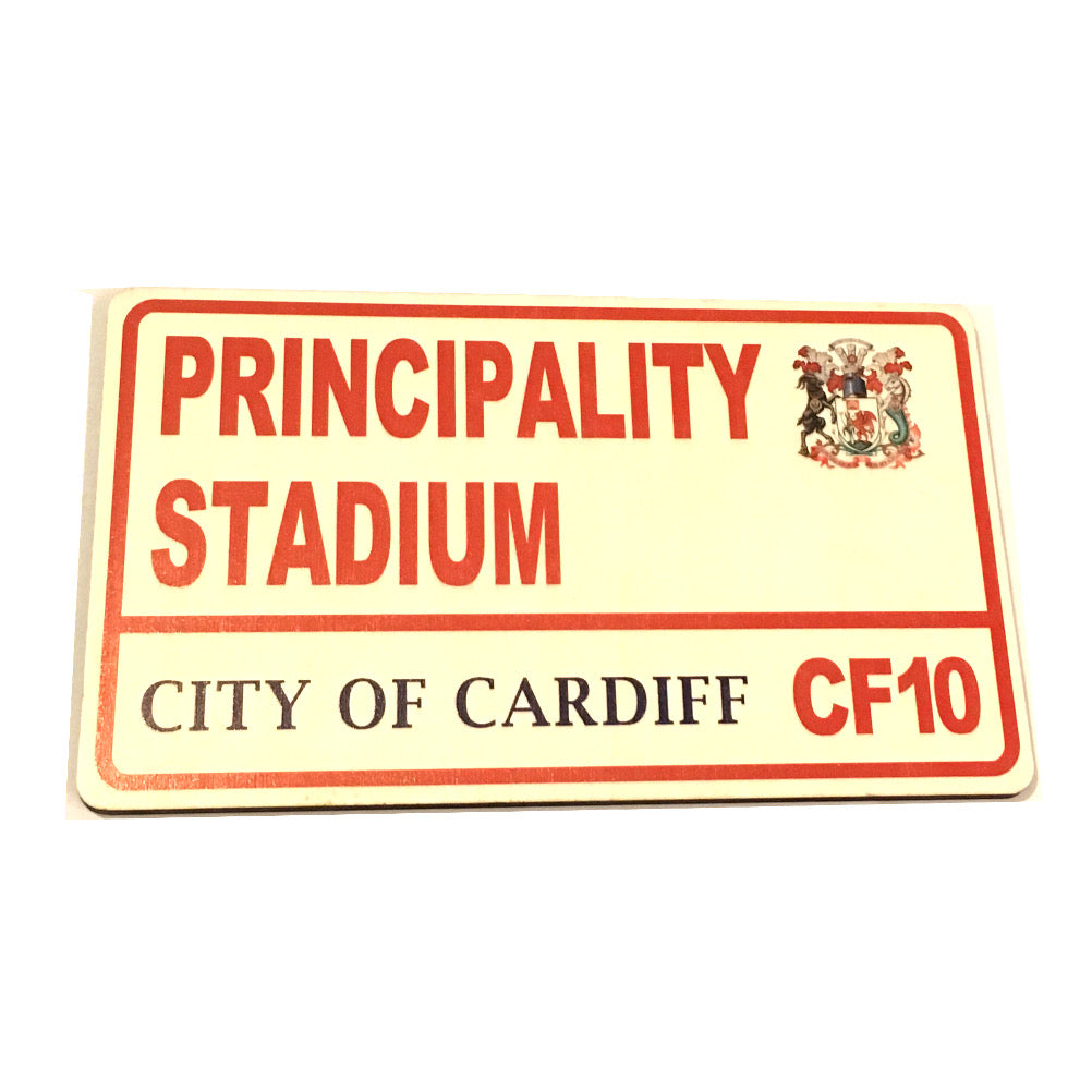 Wales Principality Stadium Rugby Football Supporter Wooden Street Sign. Wales National Rugby WRU [wg645]