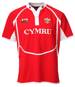 Wales Taped Neck RED Junior Cooldry Rugby Shirt