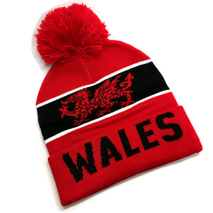 Wales Red/Black Alpine Bobble Hat [wa176]