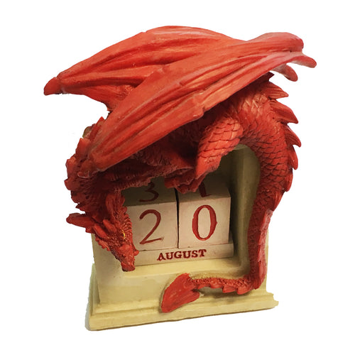 Red Dragon Perpetual Block Resin Desk Calendar [wg476]