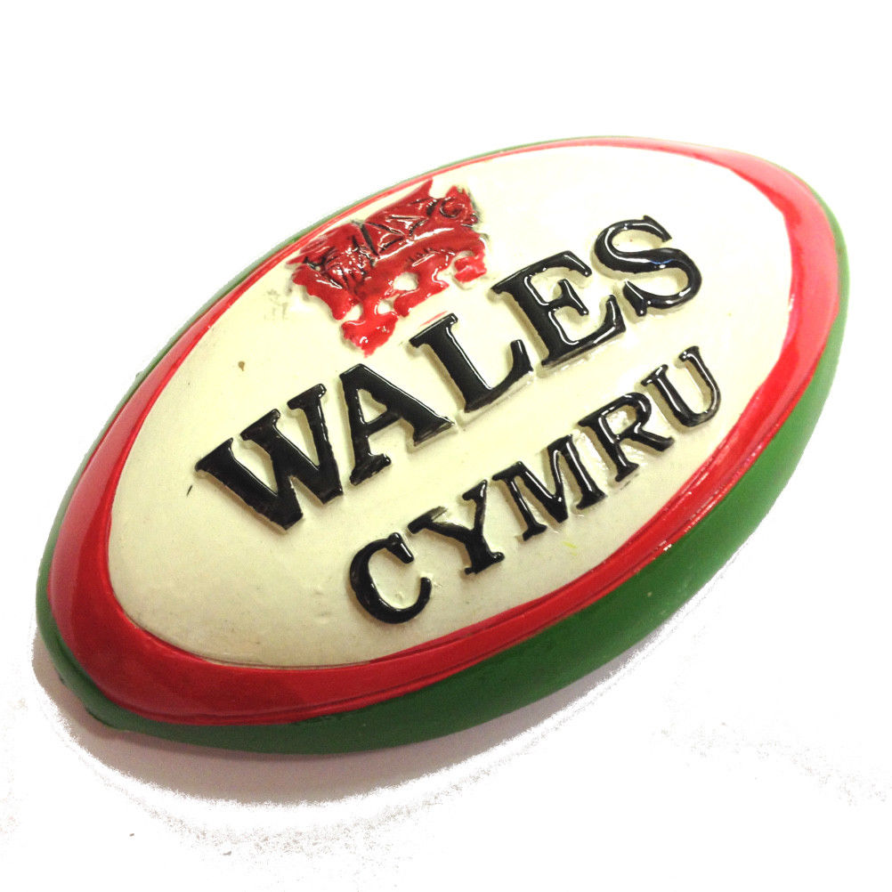 Wales Rugby Ball Cast Resin Fridge Magnet [white]