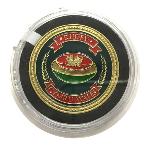 Cymru Wales Rugby Ball Colour Collector Coin [wn261]
