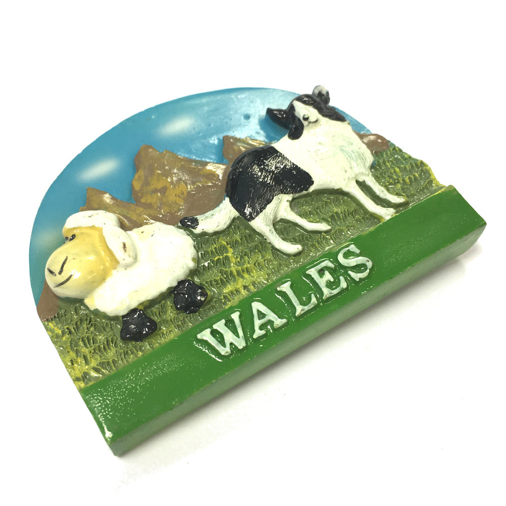 Wales Sheep and Sheepdogs Resin Fridge Magnet
