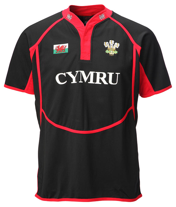 Wales Taped Neck BLACK Cooldry Rugby Shirt