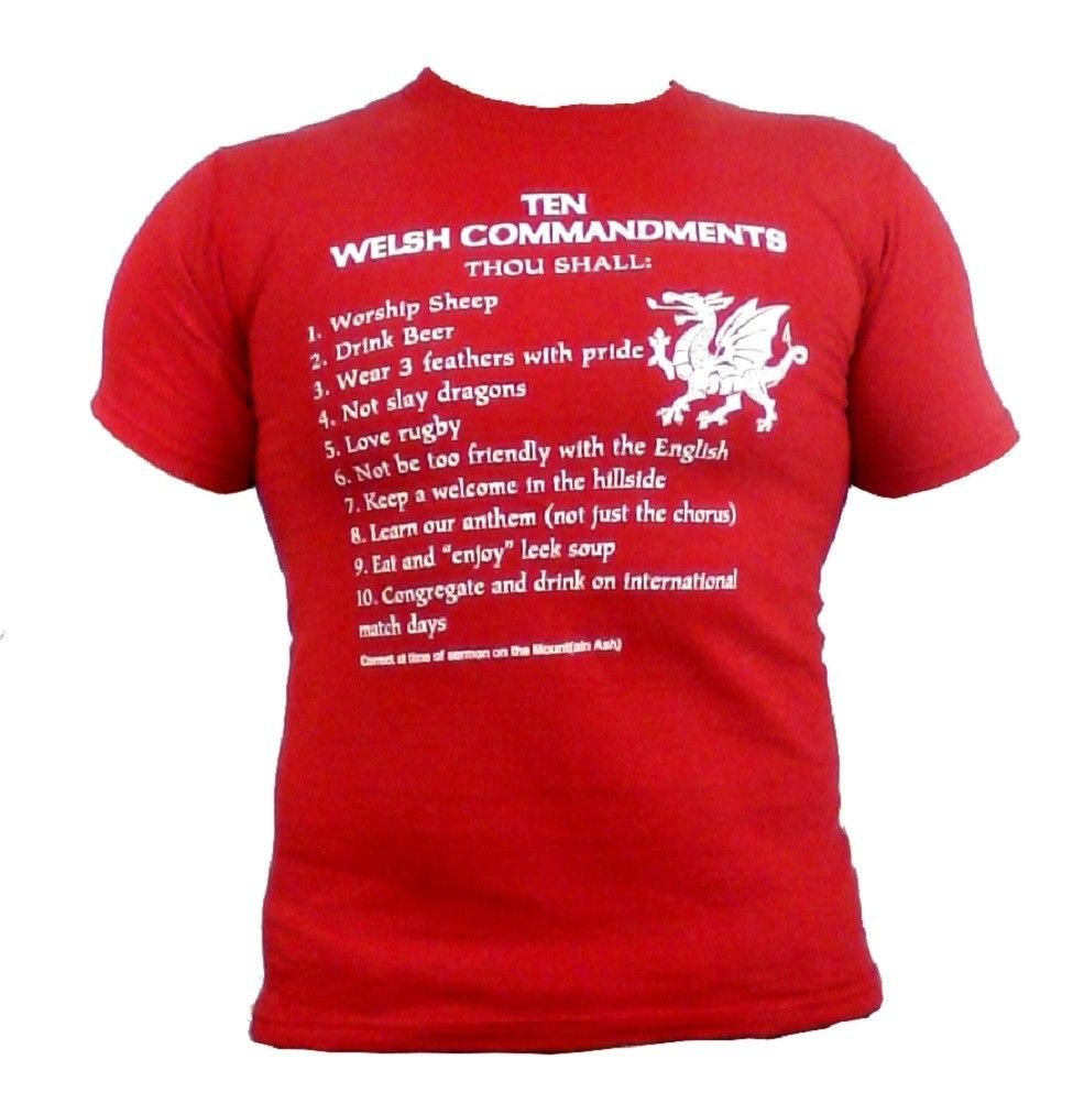 Wales Ten Commandments RED Unisex T-shirt [G858]