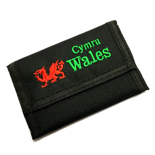 Wales Welsh DRAGON Embroidered Black Rip Wallet [wx226]