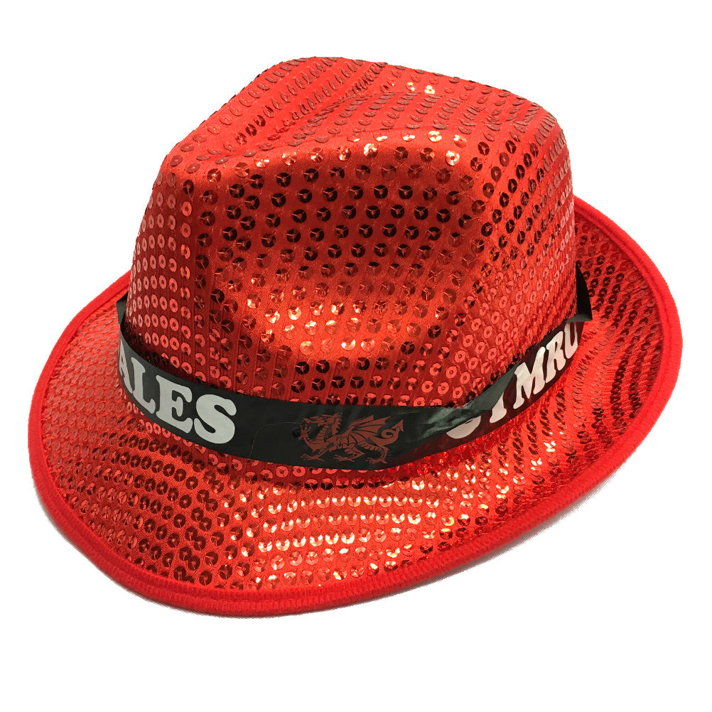 Wales Red Sequin Trilby Novelty Supporter Hat [wa166]