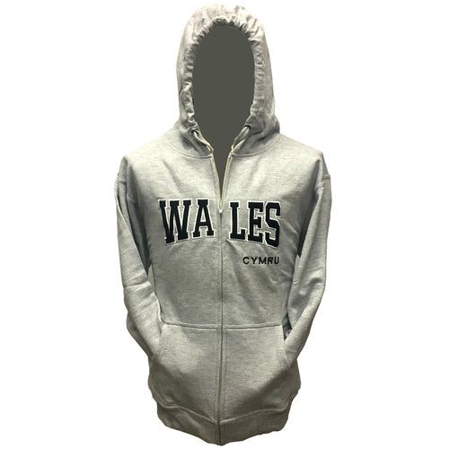 Wales Zip-Front Grey College Hoody