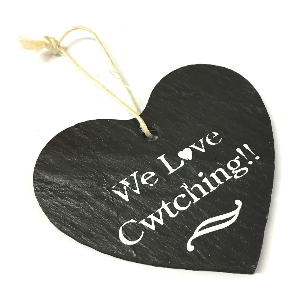 We Love Cwtching 9cm Rustic Riven Slate Heart Hanging Plaque