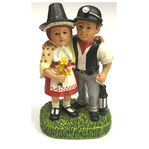 Welsh Lady & Miner Collectible Resin Figure by John Upton