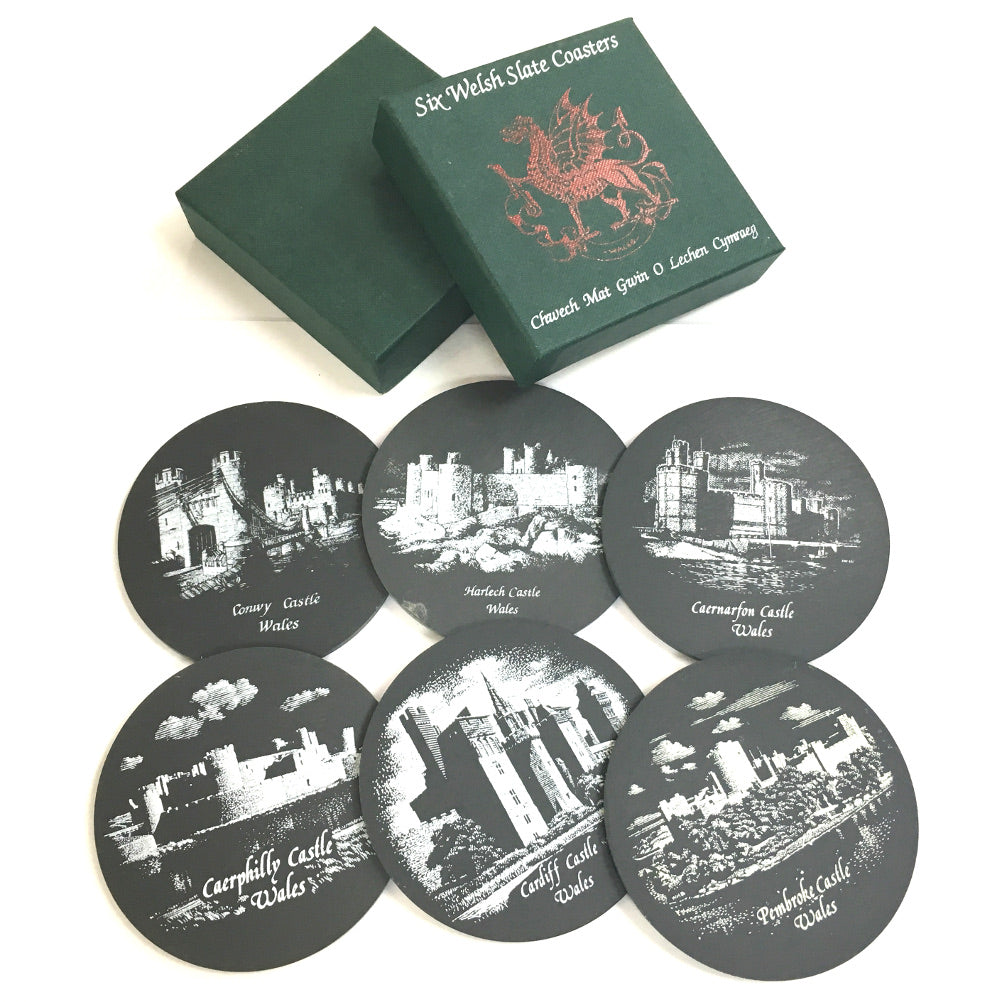 Welsh Slate Castles of Wales 6pc Coaster Set [OTK]