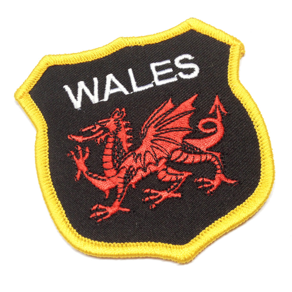 Wales Red Dragon Black Shaped Shield Embroidered Patch Badge [wb58]