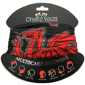 Wales Dragon Black Polyester Multiscarf Scarf [wa174]