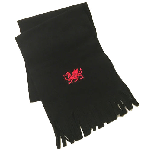 Welsh Dragon Embroidered Black Fleece Scarf [wa128]