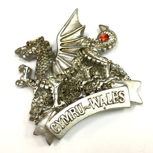 Welsh Dragon Silver Cast Resin Fridge Magnet [wm666]