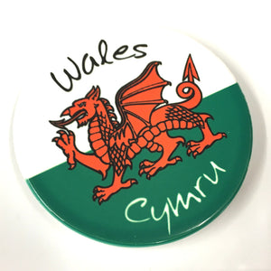 Welsh Flag Circular Ceramic Fridge Magnet