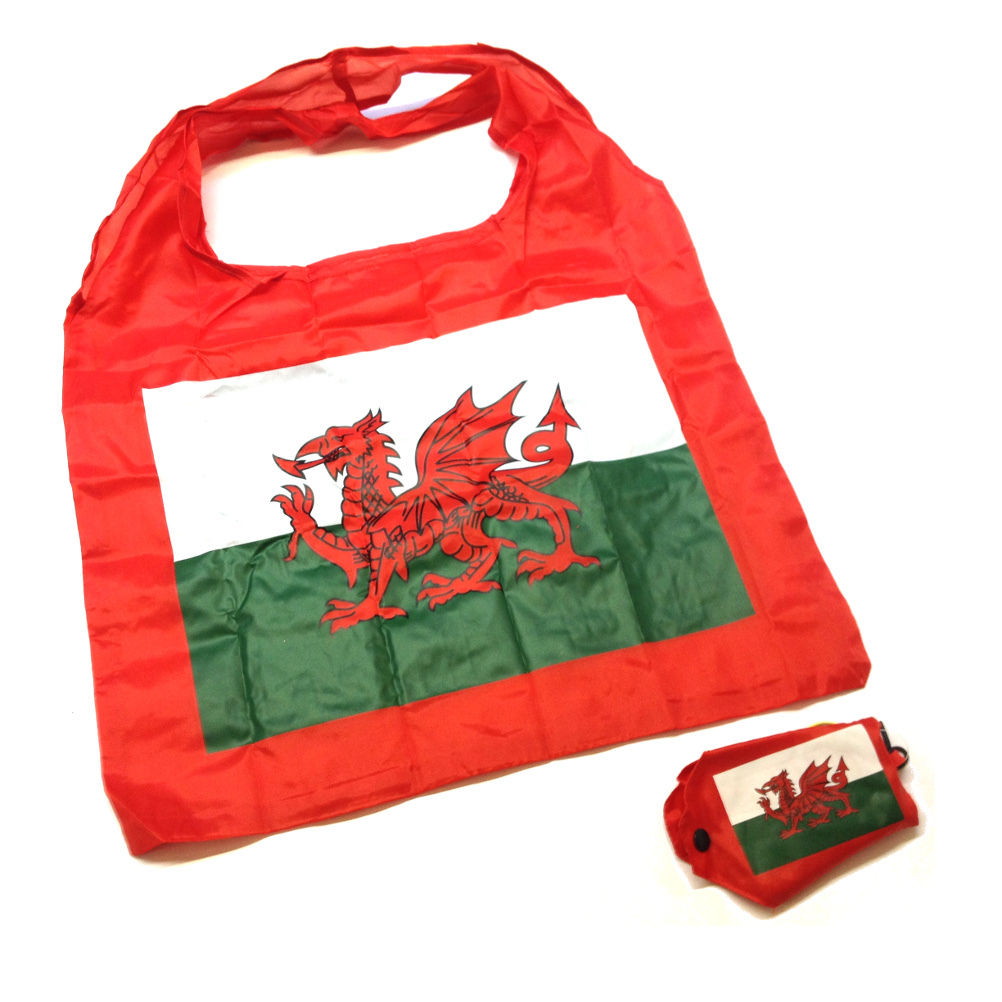 Welsh Flag Compact Folding Shopping Bag w/cover [wl119]