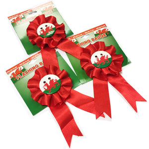 Welsh Flag Flashing Rosette 3pk [wx153]
