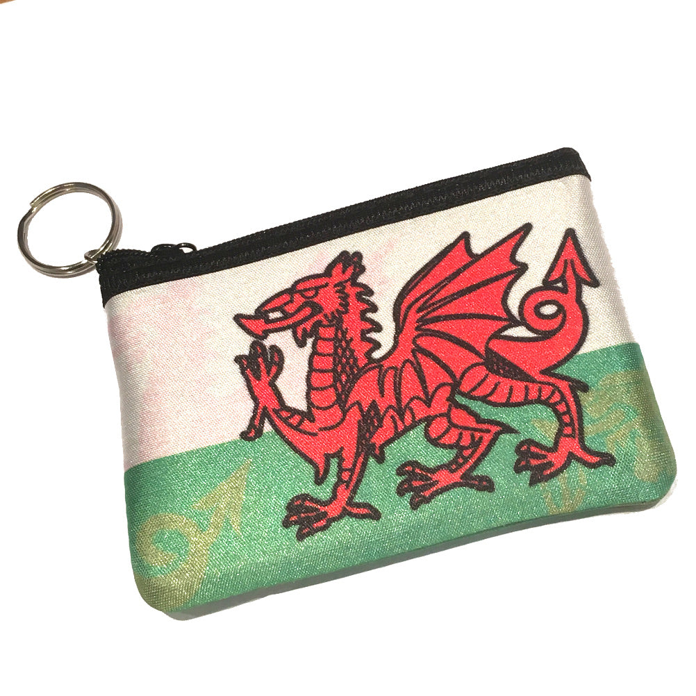 Welsh Flag Neoprene Zip-up Keyring Purse [wx289]
