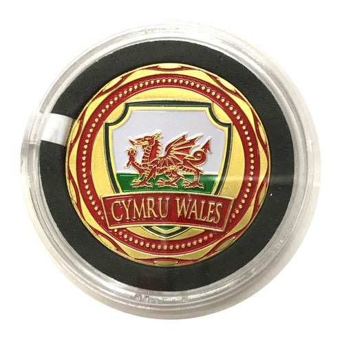 Cymru Wales Flag SHIELD Colour Collector Coin [wn260]