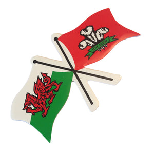 Welsh Flag Prince of Wales Feathers Twin-Flag Sticker [wb78]