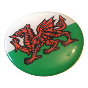 "Wales Cymru Welsh Flag Raised Car Sticker 2 1/4"" Diameter Round"
